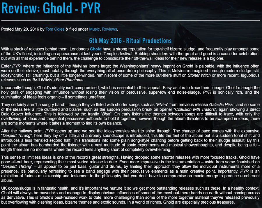 Ritual Productions | Ghold 'PYR' LP